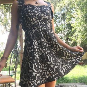 Heartsoul cream/black lace summer cocktail dress